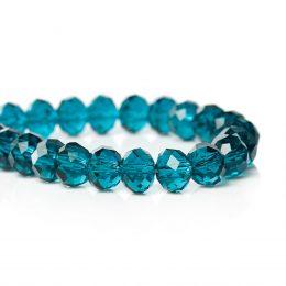 Facetterade glaspärlor 6mm blå färg på sträng 72 stycken