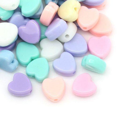 Pärlor hjärtan 8mm. Pärlor i blandade färger