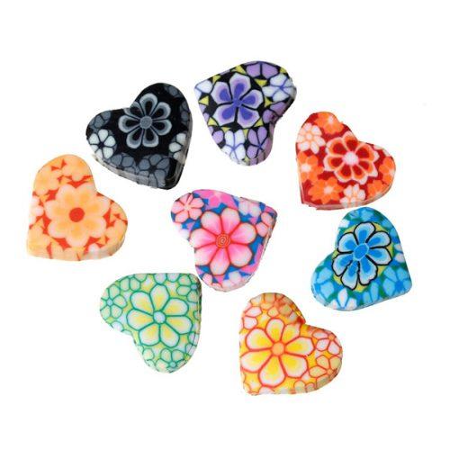 porslinspärlor hjärtan med blommor