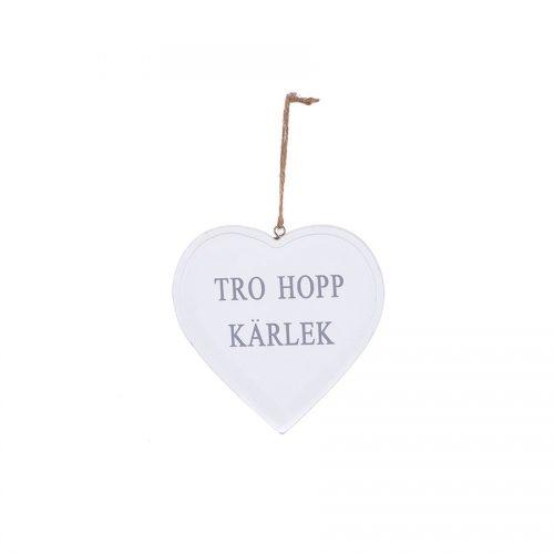 Träskylt med texten Tro Hopp Kärlek