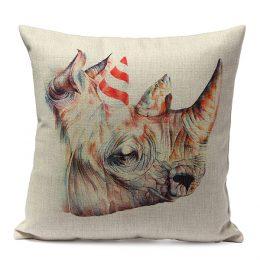 Kuddfodral i linne och bomull med tryck - Noshörning