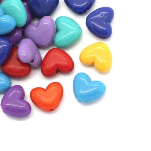Hjärtformade pärlor i blandade färger 14mm