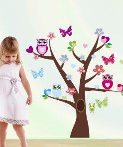Väggdekor till barn -träd med ugglor