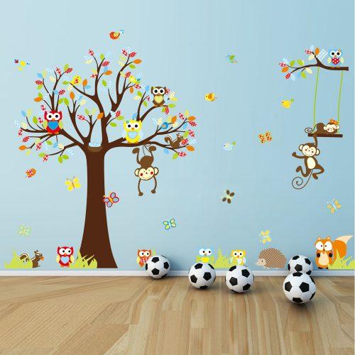 Väggedkor träd med apor och ugglor