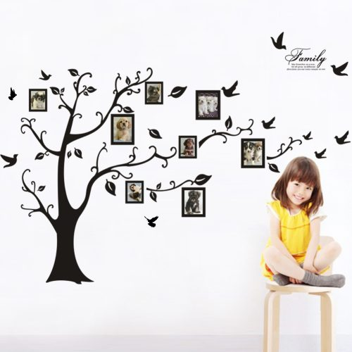 Väggdekal - Familjeträd med fotoramar