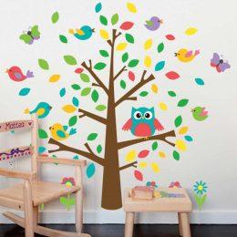 Väggdekor - Träd med fåglar, fjärilar och uggla