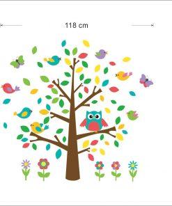 Väggdekor barn -Träd med fåglar