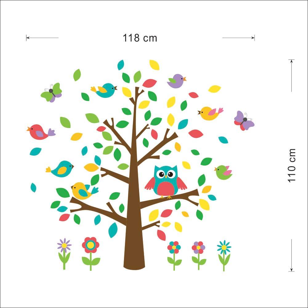 Väggdekor - Träd med fåglar, fjärilar och uggla, mått på vägg