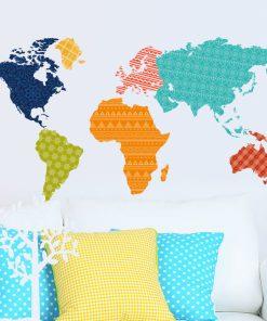 Väggdekor - Världskarta i färg