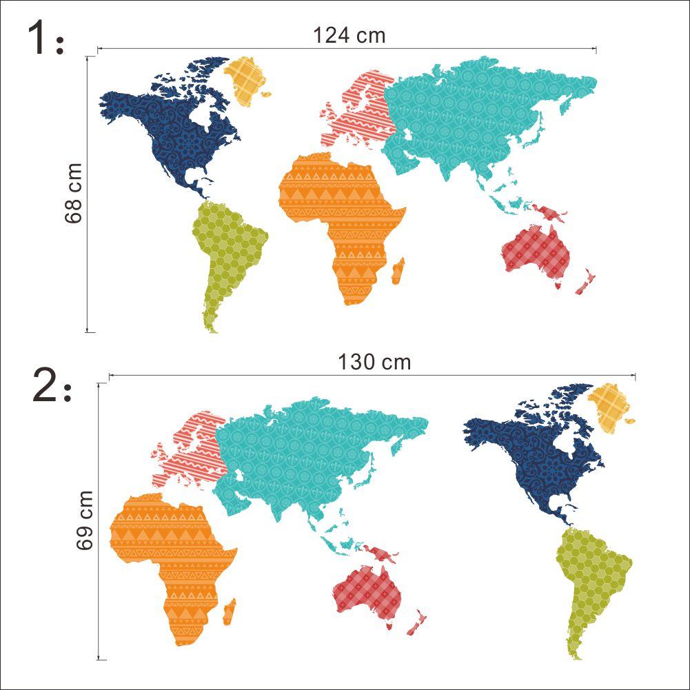 Väggdekor - Världskarta Mått