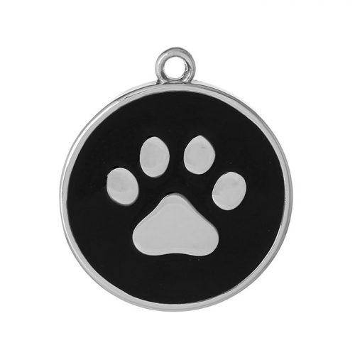 Rund berlock med hund tassavtryck
