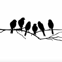 Väggdekor - fåglar på gren