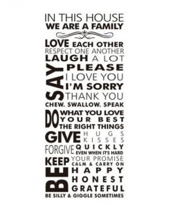 Väggdekor text med familjeregler