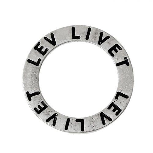 Budskapsring berlock i silver lev livet