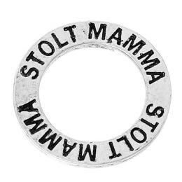 Budskapsring berlock i silver Stolt mamma