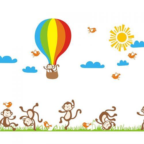 Väggdekor med lekfulla apor och luftballong