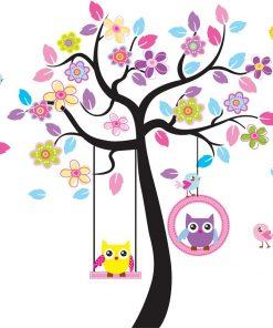 Väggdekor barn - Träd med ugglor i gunga