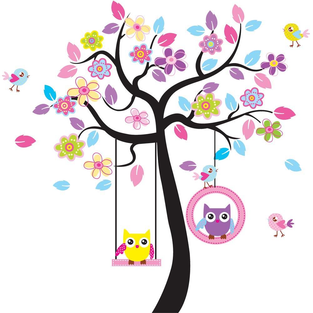 Väggdekor träd med violetta blommor