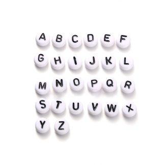 Vita bokstavspärlor- Välj bland bokstäver A-Z