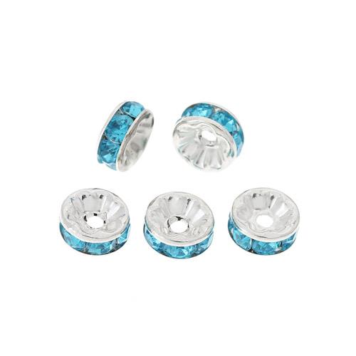Ljusblå rondell pärlor med Rhinestones 8mm. 50 stycken