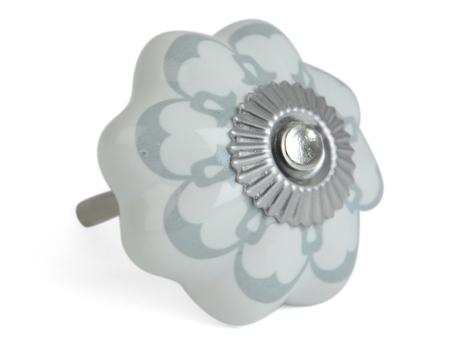 Porslinsknopp Flora - grön/grå