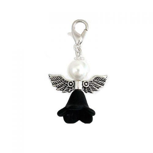 Berlock ängel svart med klolås