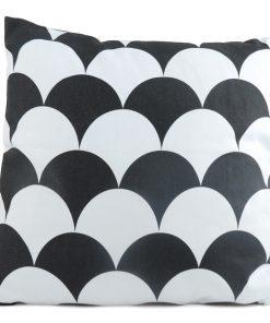 Kudde Scallop svart och vit