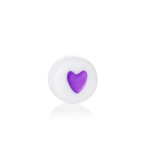 Vita runda platta pärlor med lila hjärtan