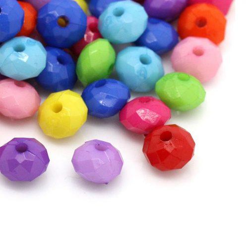 Facetterade runda halv platta pärlor i akryl / plast 250 stycken