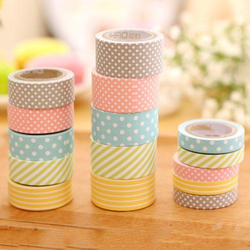 5-pack washi tape med mönster. Finns i 3 olika storlekar