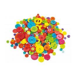 500 g med blandade knappar i olika storlekar och färger