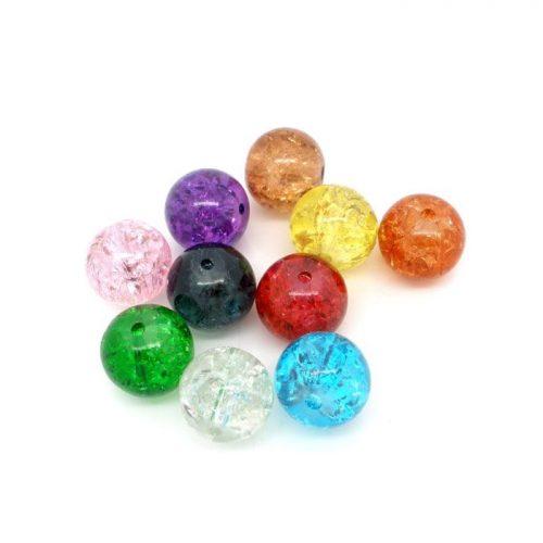 Glaspärlor, Crackle 200 stycken i blandade färger. Pärlor på 6mm