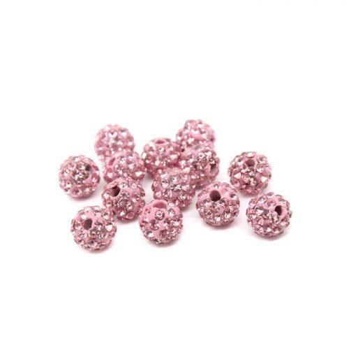 10 st 8mm rosa shamballapärlor