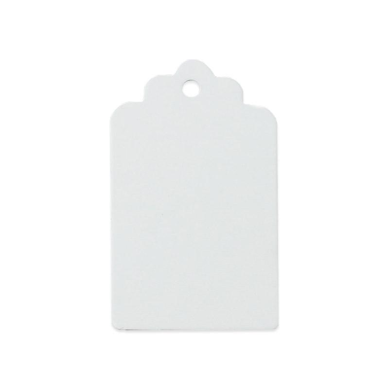 Tags rektangulär 25 st etiketter vit