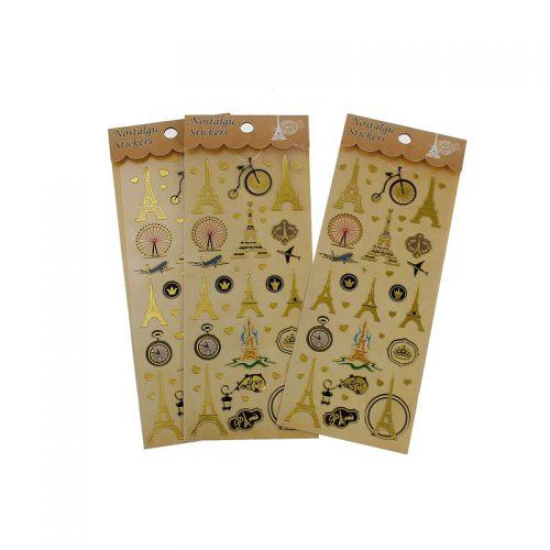 Klistermärken Paris motive guld 2 ark