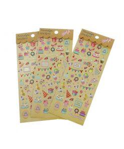 2 st metallic stickers/klistermärken födelsedag
