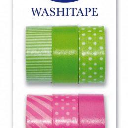 Washitejp 6-pack i grönt och rosa