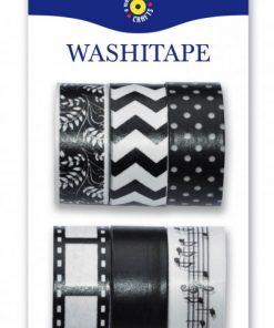 Washitejp 6-pack svart/vit