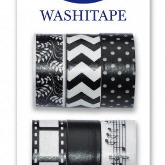Washitejp i 6-pack i svart/vit utförande