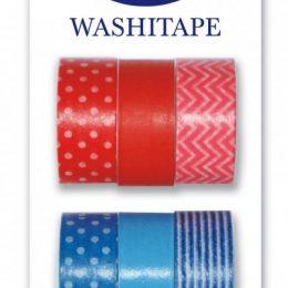 Washitejp 6-pack i röd/blå