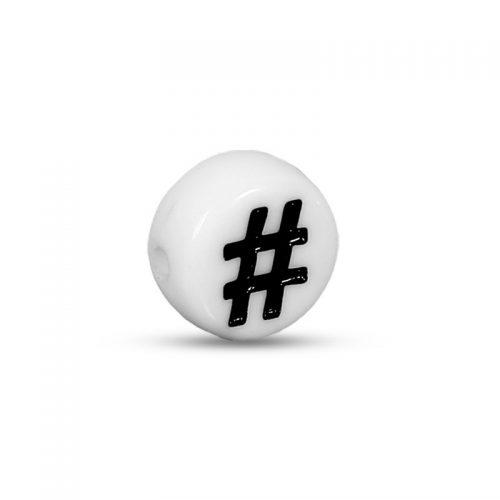 Hashtag - # - vit pärla 7 mm