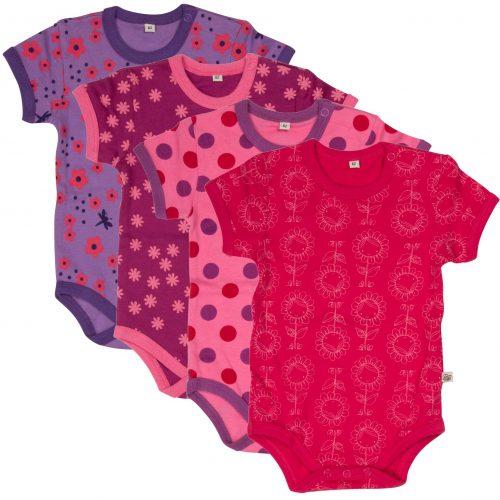 4-pack lila/rosa bodies i 100% bomull