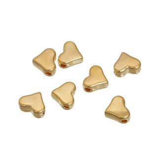 Metallpärlor hjärtan - Guldpläterad