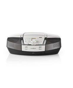 CD-spelare Boombox   Batteridriven / Strömadapter   Stereo   12 W   Bluetooth®   FM   USB-uppspelning   Bärhandtag   Vit