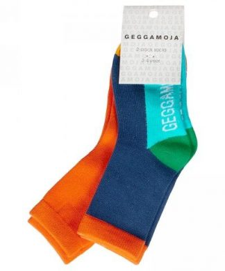Barnstrumpor från Geggamoja blå & orange