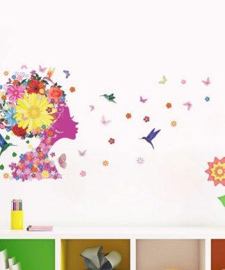 Väggdekor med ansikte blommor och fjärilar