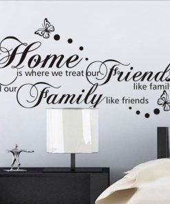 Väggdekor med text i svart - Home, Friends and family