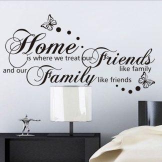 Väggdekor med text i svart - Home, Friends and family