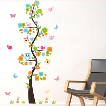 Väggdekor barn - Träd, fåglar, blommor