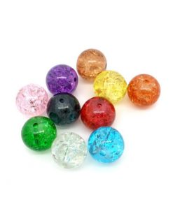 Crackle glaspärlor i blandade färger - 200 stycken
